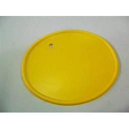 Portanumeros Oval Taladro Amarillo 28x23